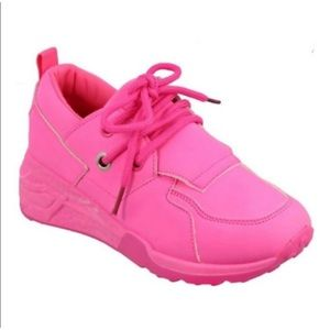 NEW! Girl's Neon Pink Wedge Sneakers